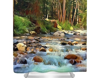 "Shower Curtain ""Barefoot Delight"" Mountain, Wilderness, River Landscape, Bathroom, Cabin Decor, Rustic Style, Watercolor, Photography Art"