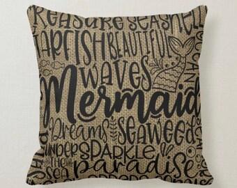 Pillow, Mermaid, Sea Life, Words, Burlap, Throw Pillow
