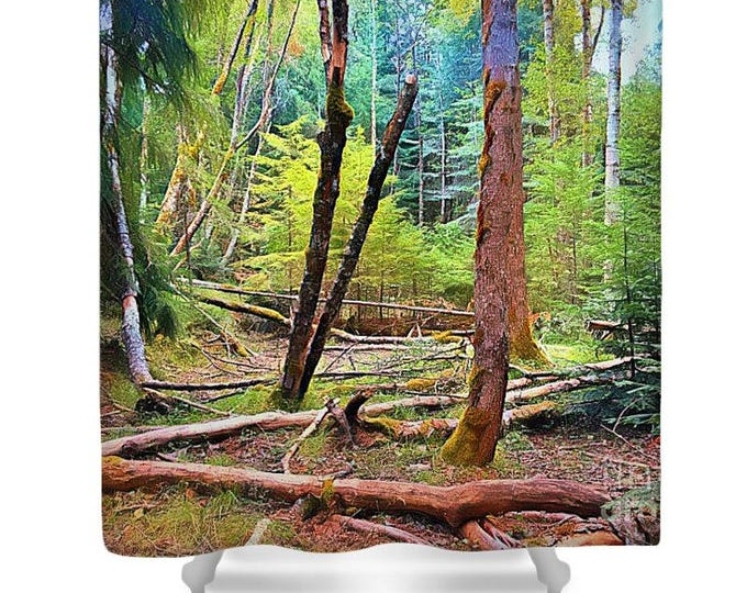 "Shower Curtain ""Forest in Gold"" Cabin Decor, Cabin Bath, Wilderness, Forest Watercolor, Art Photography, Rustic Style, Mountain, Landscape"