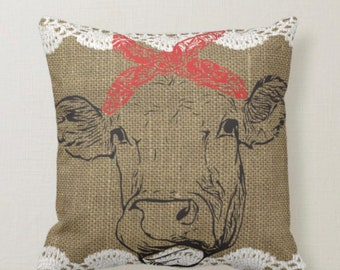 Cow Throw Pillow Burlap and Lace Red Bandanna Home is Where the Herd Is Farmhouse Decor