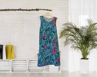 A-Line Dress, Abstract Garden, Pink, Green, Mint, Blue, Purple, Women, Flatters All Figures, Loose Flowy Style, Floral Dress
