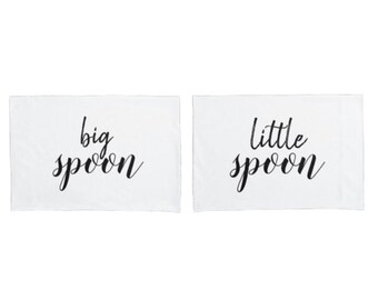 "Couple's Pillowcase Set, ""Big Spoon, Little Spoon"", Black & White"