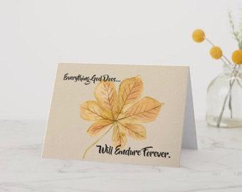 Greeting Card Autumn Leaf Endure Forever
