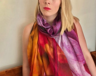 "Scarf Modal ""Vibrant Glory"" Colorful Leaves"