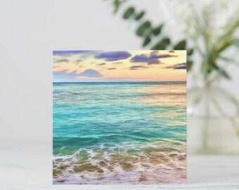 Ocean Flat Card, Blue Water Heaven, Hawaii Beach, Coastline, Photography Art, Tropical Island, Turquoise Ocean