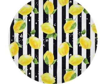 "Lemon, Glass Cutting Board, Circle 12"", Lemon and Stripe, Lemon Kitchen Decor"