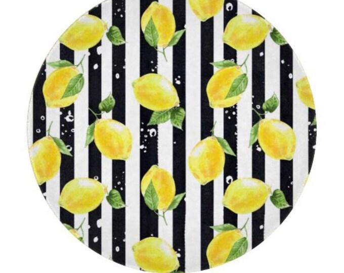 """Lemon, Glass Cutting Board, Circle 12"""", Lemon and Stripe, Lemon Kitchen Decor"""