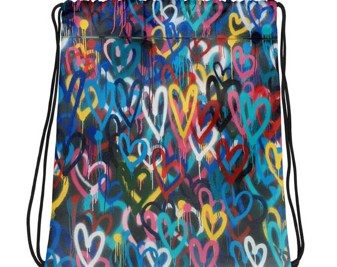 Love Heals Drawstring Bag Tote Purse