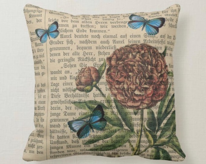 Throw Pillow, Butterfly, Floral, Pattern, Vintage Book Pages, Blue, Tan, Brown, Coral