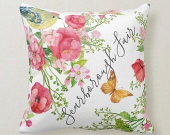 Throw Pillow, Red Poppy, Wildflower Garden, Scarborough Fair