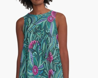 A-Line Dress, Abstract Garden, Pink, Green, Mint, Blue, Purple, Women, Flatters All Figures, Loose Flowy Style, Floral Dress