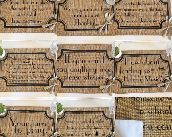 Funny Sayings, Thanksgiving Placemat Set, Family Drama, Fall Placemats,  Burlap Design, Cloth Placemats With Words, Sets, Fall Decor