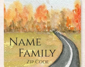 Personalize Fall Paper Coaster Set of 6, Name & Zip Code, Watercolor Landscape Road, Fall Table, Thanksgiving Table, Hostess Gift