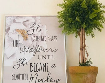 Wall Art Print, Poster, White Floral, Pearl Watercolor, She Gathered Years Like Wildflowers, Ready to Frame, Typography Print