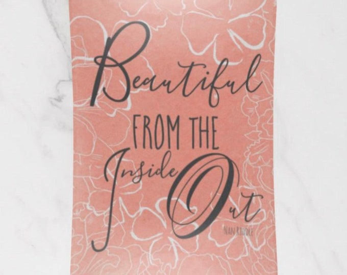"Trinket Tray, Peach Floral, ""Beautiful From the Inside Out"", Glass Tray,"