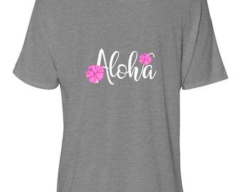 "Bella Women's Flowy Slouchy Tee, ""Aloha"" Pink Plumeria, Gray Women's T-shirt, Hawaiian Relaxed T-shirt"