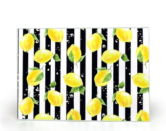 Lemons, Glass Cutting Board, Black And White Stripe