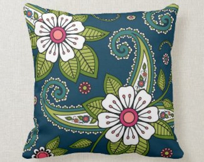 Pillow Paisley Doodle Floral, Pillow and Insert, 16 X 16, Navy, White, Green, Pink, Indian Floral Pattern, Oriental Floral