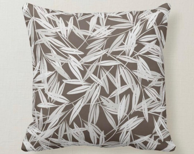 Throw Pillow, White Bamboo Leaf Pattern, Brown Background,
