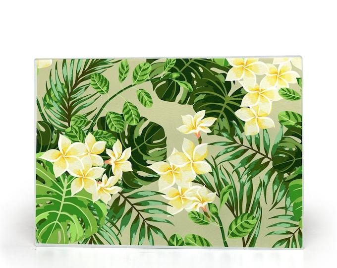Glass Cutting Board, Plumeria Blooms, Tropical Leaves