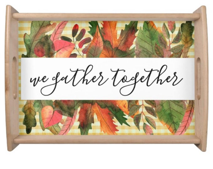 Autumn Tray, Fall Leaves, Yellow Gingham, We Gather Together,  Thanksgiving Centerpiece, Thanksgiving Table, Serving Tray