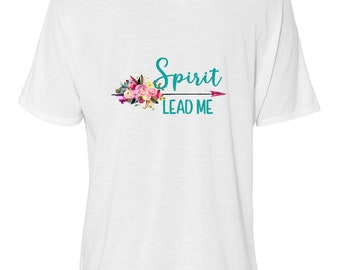 "Bella Women's Flowy Slouchy Tee, Boho Floral Arrow ""Spirit Lead Me"""