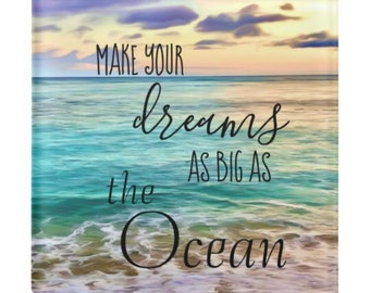 "Ocean Glass Coaster ""Dreams As Big As the Ocean"" Hawaii Beach Coaster, Tropical Sunset, Paperweight"