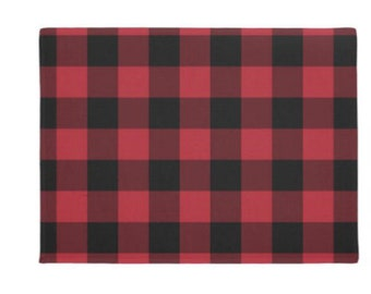 Buffalo Plaid Door Mat, Red and Black, Indoor Outdoor Covered Porch Mat, Checked Decor, Winter Porch Decor
