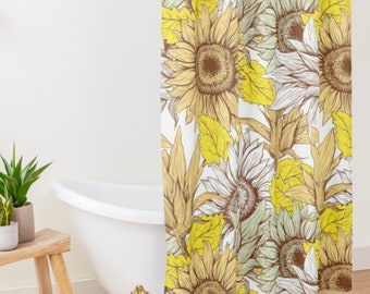 Polyester Sunflower Shower Curtain, Sunflower Floral Print, Sunflower Bath Decor, Yellow, White, Brown and Mint, Earth Tones