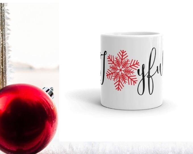 Christmas Mug Joyful & Red Snowflake