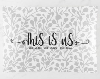 "Glass Tray ""This is Us. Our Life. Our Story. Our Home."" White & Grey, Wedding Gift, Valentine's Day Gift, Anniversary Gift"