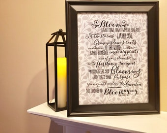 Bloom Anyway Quote Grey & White Botanical Typography Print