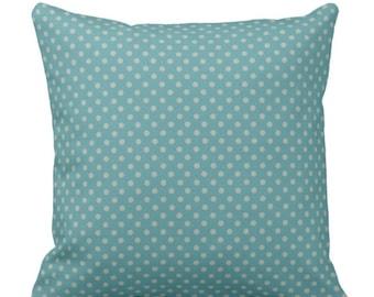 Throw Pillow Turquoise Small Polka Dots