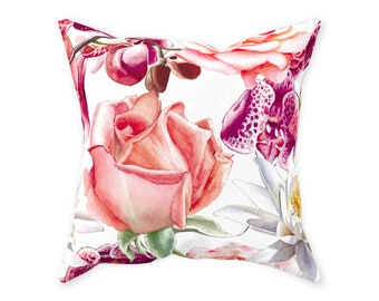 Throw Pillow, Floral, Exotic Blooms, Pink Rose, Purple And Cream, Tropical Flowers Pillow