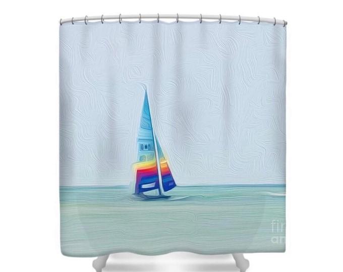 Shower Curtain, Sailboat, Multi-Color Sail, Blue Ocean, Beach Bath Decor, Beach Spa Bathroom