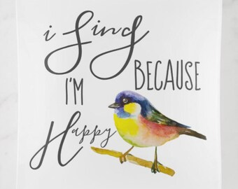 "Glass Trinket Dish, Musical, Watercolor Bird ""I Sing Because I'm Happy"" Glass Trinket Tray"