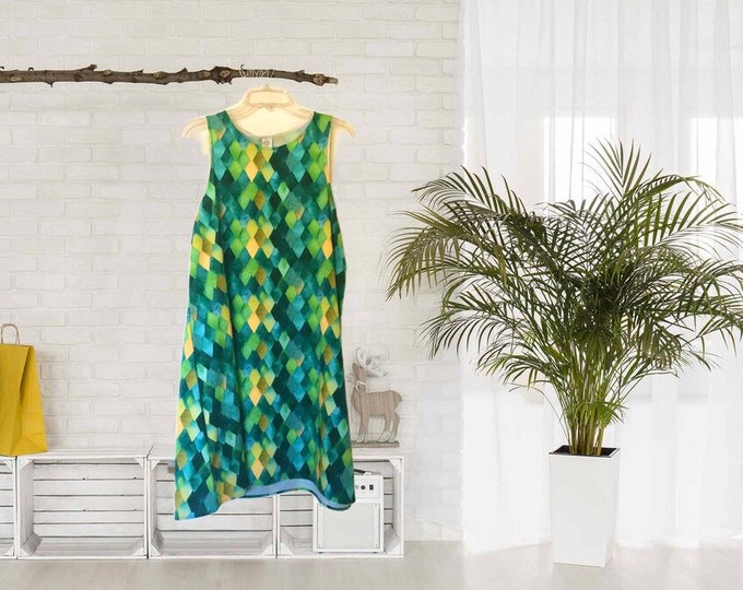 A-Line Dress, Green Watercolor, Dragon Scale Pattern, Sleeveless, Flattering on Any Figure,