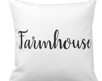 Farmhouse Black & White Throw Pillow