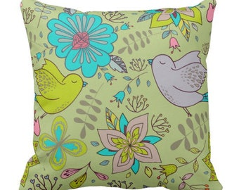 "Boho Pattern ""Birds and Flowers"" Throw Pillow"