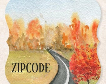 Personalize, Fall Paper Coaster Set of 6, Watercolor Landscape, Your Zip Code, Thanksgiving Table, Fall Gathering, Fall Table, Coaster