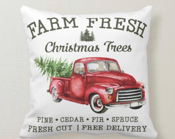 Christmas Pillow, Vintage Style, Farm Fresh Christmas Trees, Red Truck, Two Pillows in One, Green Christmas Tree Farmhouse Decor
