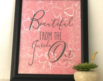 """Typography Print, Peach Floral, """"Beautiful Inside Out"""" Wall Art"""