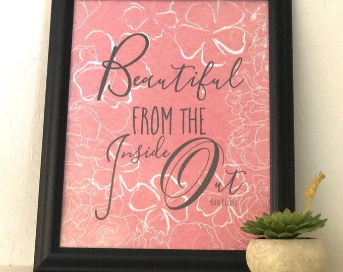 "Typography Print, Peach Floral, ""Beautiful Inside Out"" Wall Art"