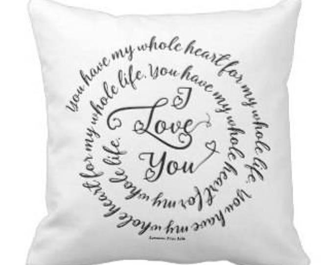 "White Decorative Throw Pillow ""I Love You"""