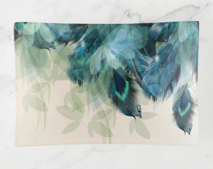 Boho Style, Decorative Glass Tray, Turquoise and Teal Feathers, Glass Trinket Dish