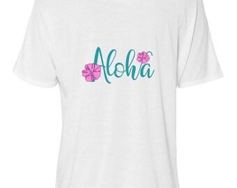 Bella Women's Flowy Slouchy Tee, Aloha, Pink Plumeria, Women's T-shirt, Size Small-Plus