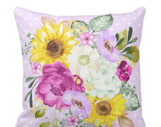 Floral Bouquet Lavender Purple Sunflower Hydrangea Throw Pillow
