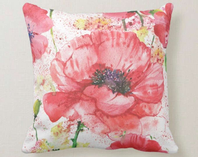 Throw Pillow, Watercolor, Red Poppy, Floral, Poppy Garden