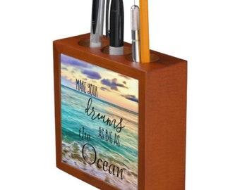 "Ocean Desk Organizer, Textual Art, ""Make Your Dreams As Big As The Ocean"" Mahogany Wood, Inspirational Office Gift ""Dream"""