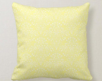 Yellow Damask Pattern Sunny Decor Throw Pillow 16 X 16